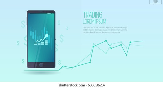 flat style web banner on mobile stock trading concept, online trading, market analysis, business and investment