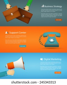 flat style web banner set. digital marketing, support center, business strategy eps10 vector