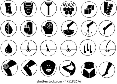 Flat style web icon set. Sugaring, waxing, hair removing. Allergy, skin irritation, pain icons. Hair removal. Hair remove icons