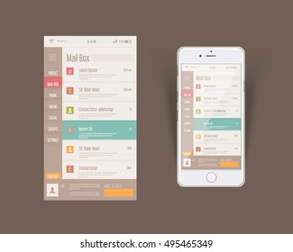 Flat Style Web or Software Template, Mobile Interface Design