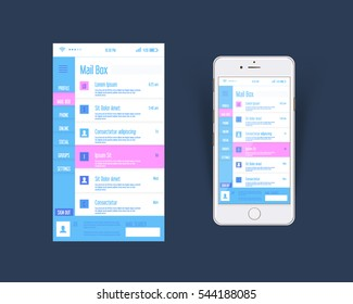 Flat Style Web or Software Template, Mobile Inbox Interface Design