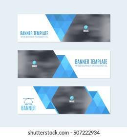 Flat Style Website Banner, Horizontal Background and Web Layout Ad , Vector Cover Illustration. Image Add Business Advertisement Banners Design Collection with Creative Clean Geometric Elements Set
