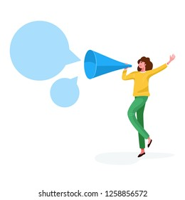 Flat style, A woman shouting in a big paper trumpet on white background, vector illustration