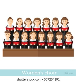 Flat style Women's choir in two raws with black suits and red cover notes isolated on white