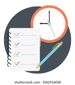 Flat style work deadline concept, to do reminder list icon