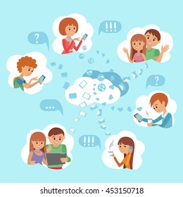 Flat style young people faces online social media communication cloud service concept vector. Man woman with tablet phone laptop. Content and humans connected via chat share like e-mail.