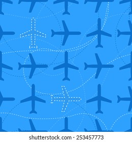 Flat styled aviation seamless pattern with missing planes