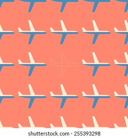 Flat styled aviation seamless pattern with missing plane