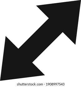 Flat styled black expand double side arrow icon