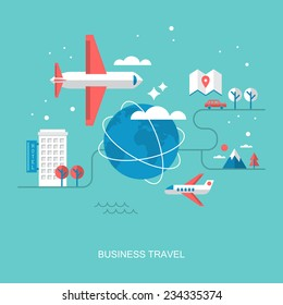 Flat stylish design for business travel concept. Flat vector elements for web applications and banners