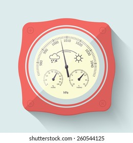 Flat Stylized Barometer Instrument, with scales for measuring air temperature and air humidity. Vector Illustration.
