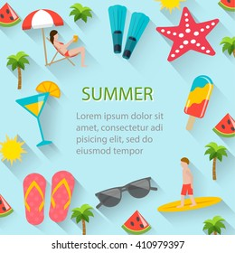 Flat summer holidays, beach vacation poster with  summertime icons set. Man surfing, woman sunbathing on beach. Party invitation, background , ad, sale backdrop. Layout template, vector