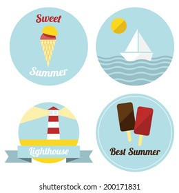 Flat summer illustrated labels in retro style.