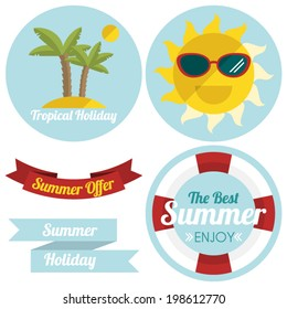Flat summer illustrated labels and ribbons in retro style.