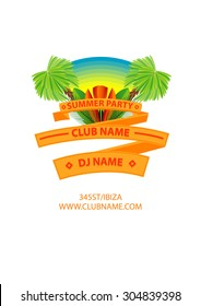Flat Summer party poster palm tree leaf banner isolated
