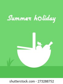 Flat summer poster with picnic basket