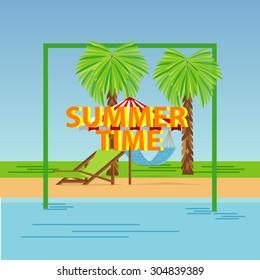 Flat Summer time background palm tree beach chair hammock water beach background