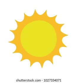 Flat sun icon. Hand-drawn sun. Vector illustration. Sun pictogram. Template vector illustration. Cartoon sun. Isolated on white background. High quality. Flat summer sunrays sunshine sunbeam sunlight