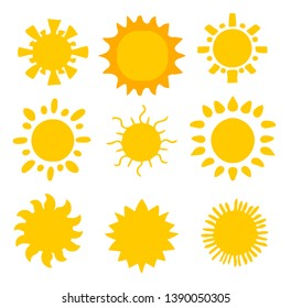 Flat sun icon. Sun pictogram. Trendy vector summer symbol for website design, web button, mobile app.