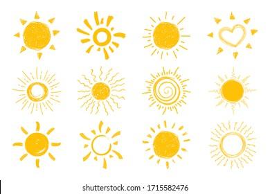 Flat sun icon. Sun pictogram. Trendy vector summer symbol for website design, web button, mobile app. vector doodle suns.