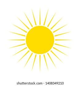Flat sun Icon. Summer pictogram on white background. Sunlight symbol. Vector illustration, EPS10