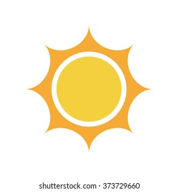 Flat sun Icon. Summer pictogram. Sunlight symbol. Vector illustration, EPS10.