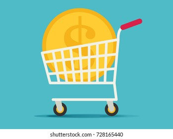 Flat Supermarket Cart Icon with Golden Coin Money