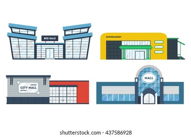 Flat supermarket. Shopping mall building. Set of colorful funny cartoon city store. Market shop place. Business marketing collection. Infographic elements. Isolated vector illustration.
