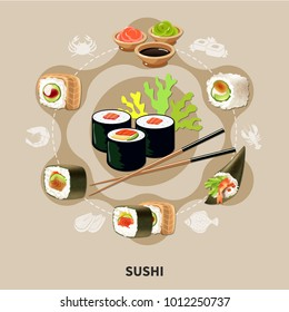 Flat sushi composition with different types of sushi or rolls arranged in a circle vector illustration