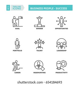 Flat symbols about business people. Success. Thin line icons set.