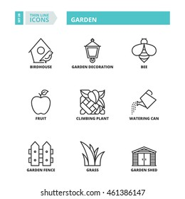 Flat symbols about garden. Thin line icons set.
