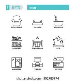 Flat symbols about home. Thin line icons set.