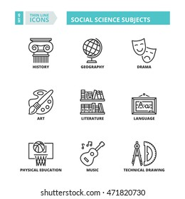 Flat symbols about school. Social science subjects. Thin line icons set.