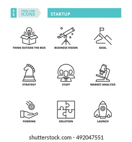 Flat symbols about startup. Thin line icons set.