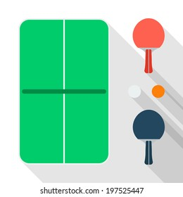 Flat table tennis icons design