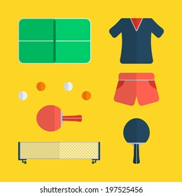 Flat table tennis icons design with yellow background
