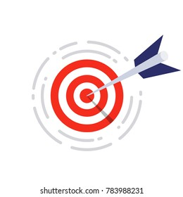 flat target with dart vector icon