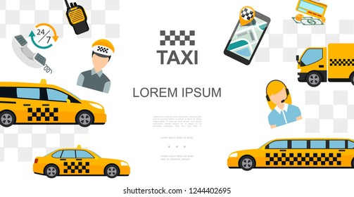 Flat Taxi Colorful Template