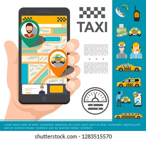Flat Taxi Online Service Concept