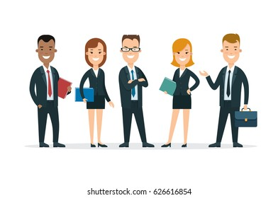 Flat Team of happy young man and woman vector illustration. Successful Business Teamwork concept.