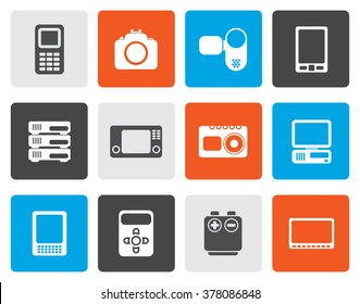 Flat technical, media and electronics icons - vector icon set