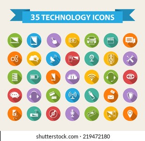 Flat Technology Icons  with long shadow.Big set