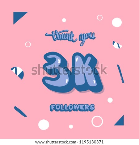 flat template 3 k followers thank you stock vector royalty free