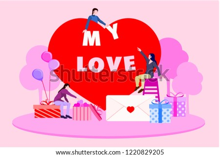 Flat Template Around Box With Large Heart Poses On Big Romantic Post Of Valentines Day