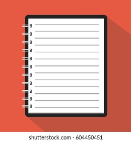 Flat template notebook. Diary for business. Notebook cover design. Office stationery items. Vector illustration.