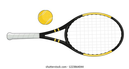 Flat tennis ball and racquet isolated vector