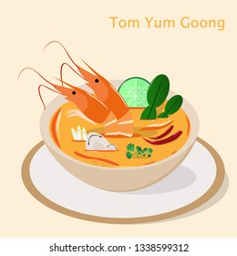 Flat Thai Tom Yum Goong or Khung sour  and spicy soup Traditional asian dish. Thai Food Vector
