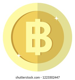 Flat Thailand baht currency round Gold coin.  Thai, casino currency, gambling coin, vector illustration isolated on white background. Vector icon, symbol, money, casino gambling. EPS10