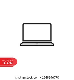 flat thin laptop line icon. laptop icon. modern design. vector illustration