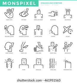 Flat thin line Icons set of Diseases and Symptom. Pixel Perfect Icons. Simple mono linear pictogram pack stroke vector logo concept for web graphics.